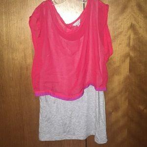 Grey tank/ red sheer Shirt